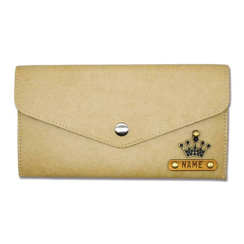 Beige Slim Leather Wallet For Womens