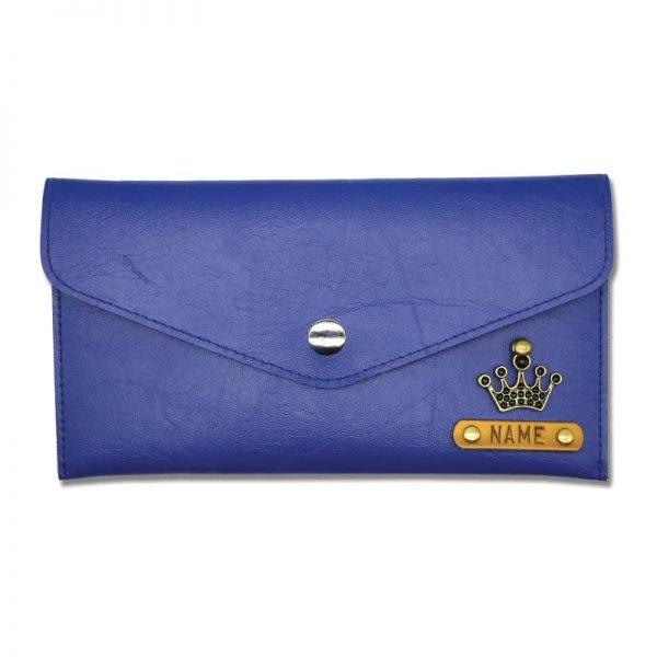 Dark Blue Slim Leather Wallet For Women