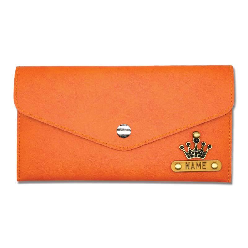 Orange Slim Leather Women Wallet