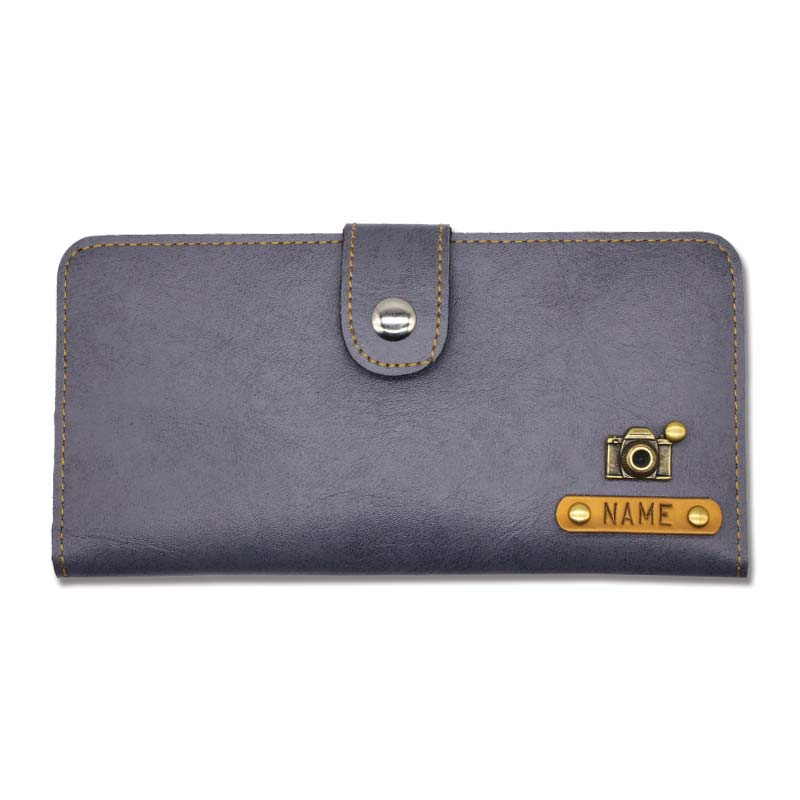 Personalised Grey Leather Clutches For Women
