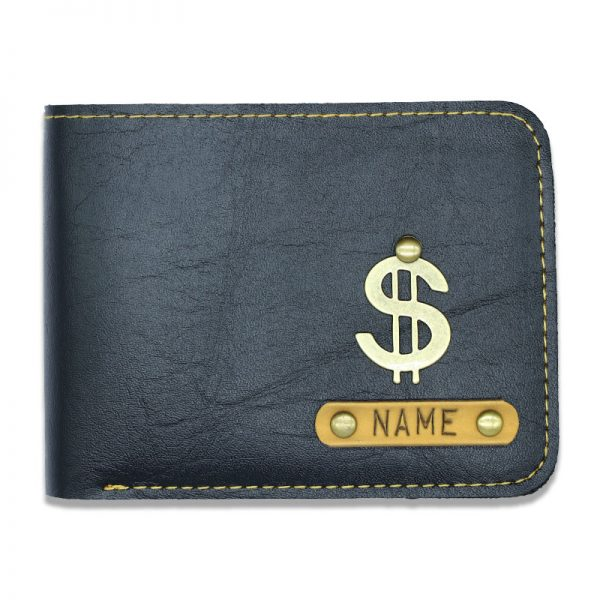 Personalized Slim Black Leather Men's Wallet